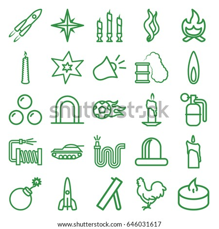 Fire icons set. set of 25 fire outline icons such as siren, chicken, explosion, water hose, candle, smoke, flame, bonfire, rocket, dynamite, smoking can, canon ball, cannon