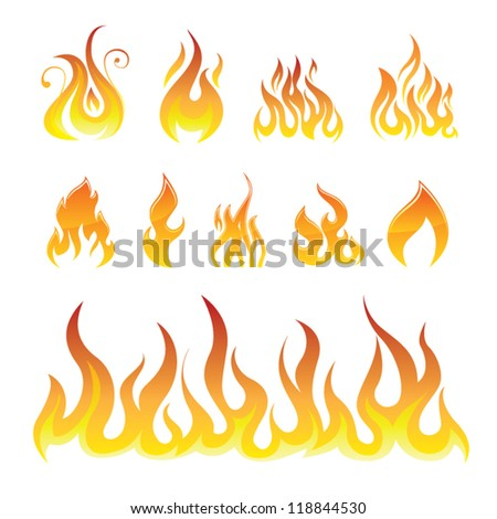 Fire Icons Vector Set - stock vector