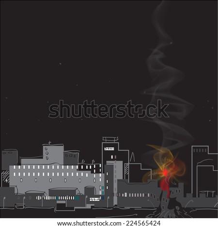 Fire in a modern city, night scene. Hand drawn illustration. - stock vector