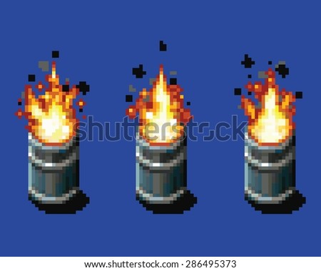 Fire in the barrel - animation frames video game asset pixel art style vector layer illustration