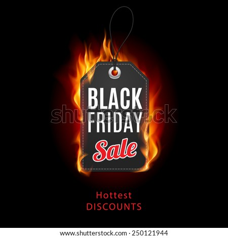 Fire label. Black Friday discounts, increasing consumer growth. - stock vector
