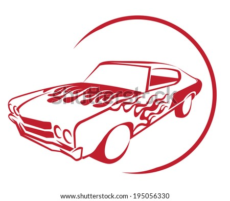 Fire Muscle Car - stock vector