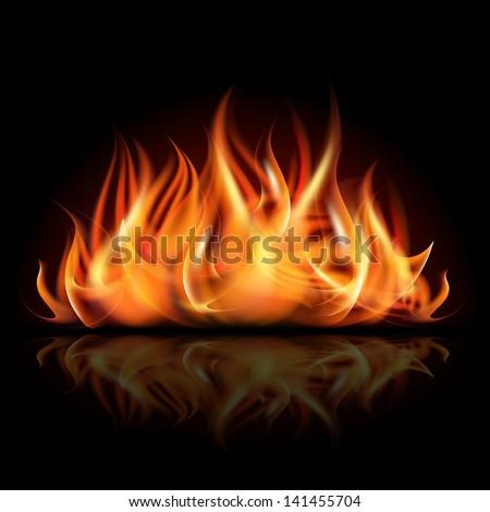 Fire on dark background. Vector illustration - stock vector