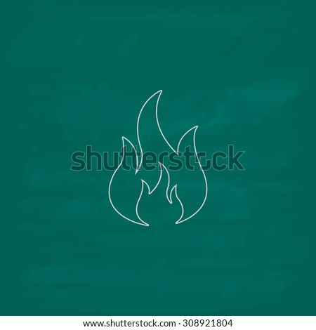 Fire. Outline vector icon. Imitation draw with white chalk on green chalkboard. Flat Pictogram and School board background. Illustration symbol - stock vector