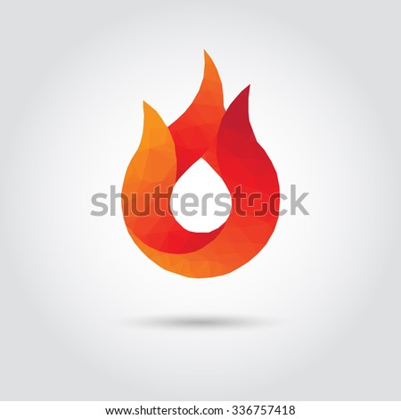 Fire polygon icon in modern style with shadow and gray background. Geometric symbol of flame icon and heat. - stock vector