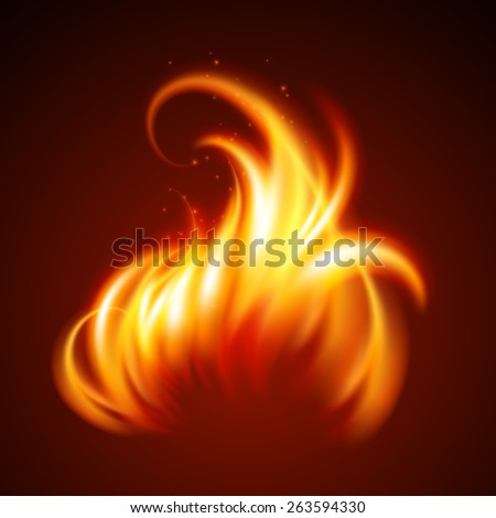 Fire realistic background. Vector illustration  - stock vector