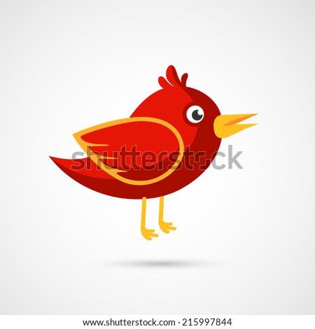 Fire Red bird icon. - stock vector