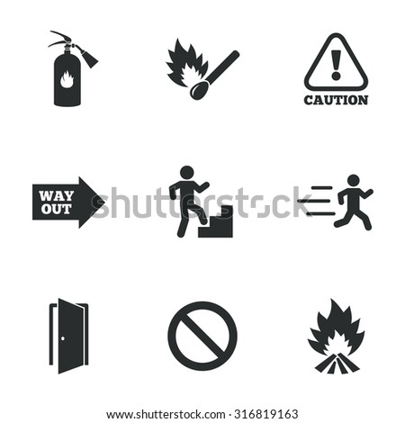 Fire safety, emergency icons. Fire extinguisher, exit and attention signs. Caution, water drop and way out symbols. Flat icons on white. Vector