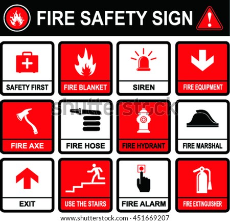 Fire safety signs on flat style