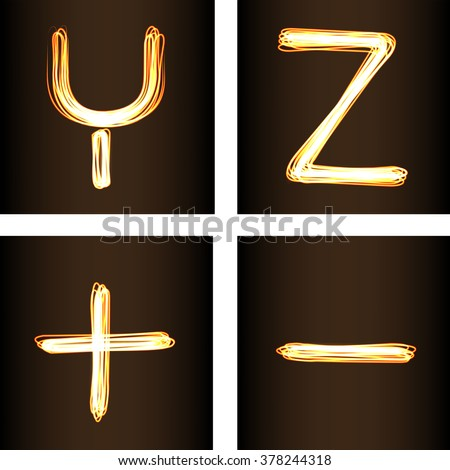 Fire-show style set of letters Y, Z, minus and plus, vector illustration. Part of collection letters and numbers  in this style - stock vector