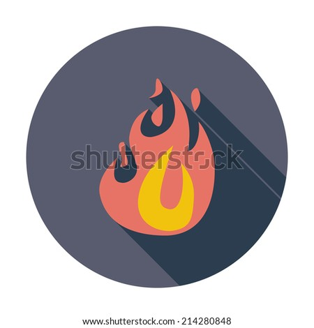 Fire. Single flat color icon. Vector illustration. - stock vector
