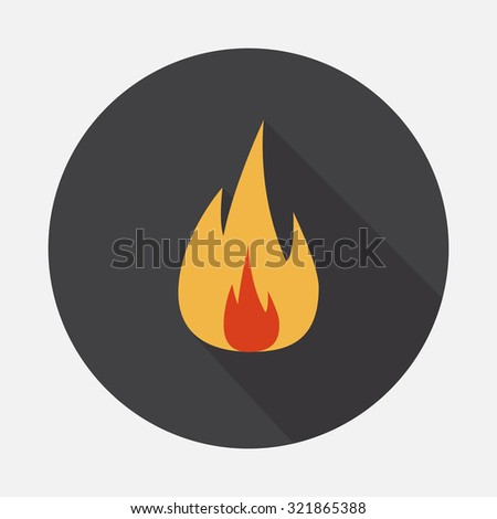 Fire. Single flat color icon. Vector illustration.