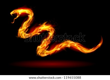 Fire Snake. Illustration on black for design - stock vector
