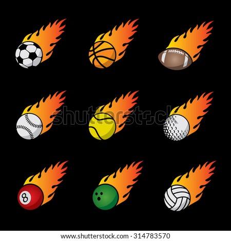 Fire Sport Balls Vector Template Set - stock vector