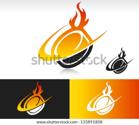 Fire Swoosh Hockey Puck Logo Icon - stock vector