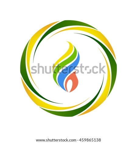 Fire symbol with Brazilian flag colors, vector - stock vector