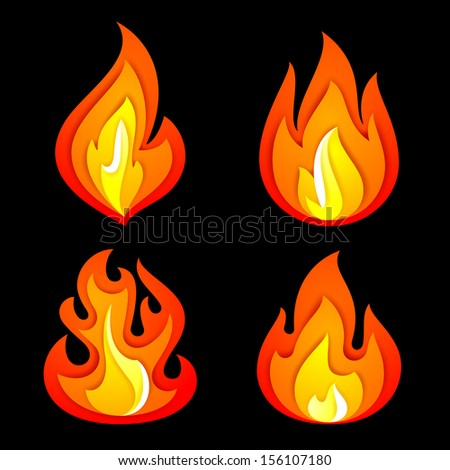 Fire symbols set on a black background, vector illustration 10eps - stock vector