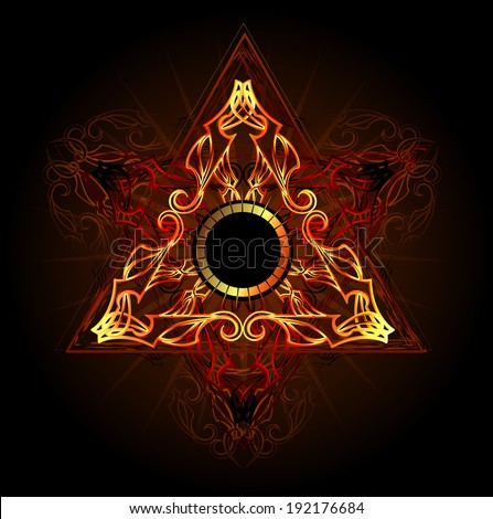 fire triangle esoteric symbol on a black background - stock vector