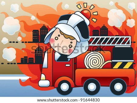 Fire Truck and Cute Firefighter - Advertisement for fire prevention with burning buildings and brave fireman - stock vector