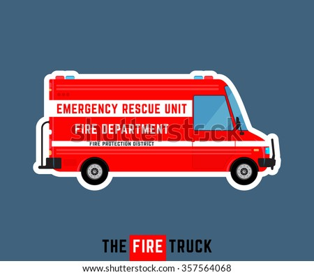 Fire truck isolated. Emergency rescue car. Fire department bus. Fire protection district van. Special service vehicle. Vector illustration - stock vector