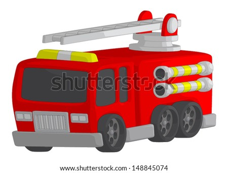 Fire Truck isolated on a white background. - stock vector