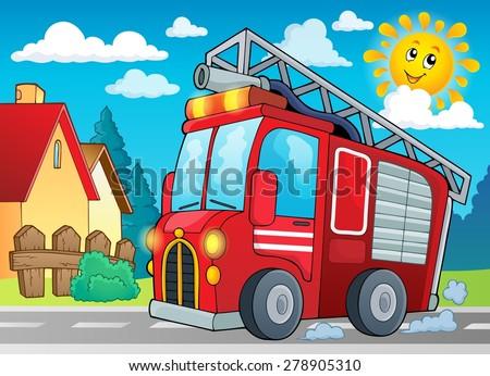 Fire truck theme image 2 - eps10 vector illustration. - stock vector