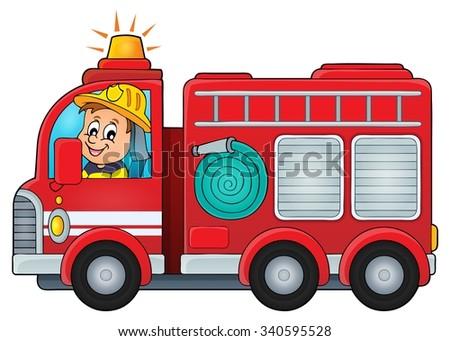 Fire truck theme image 4 - eps10 vector illustration. - stock vector