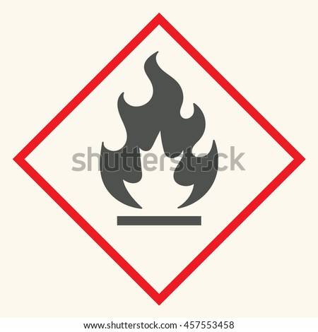 Fire warning sign in red triangle. Flammable, inflammable substances icon. - stock vector