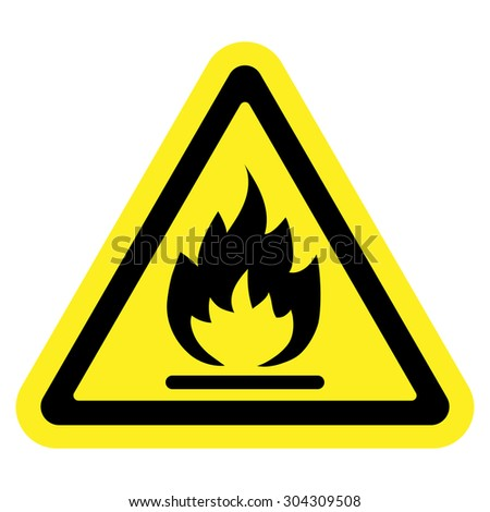 Fire warning sign in yellow triangle. Flammable, inflammable substances icon. Vector - stock vector