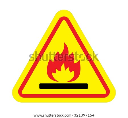 Fire warning sign in yellow triangle Flammable, inflammable substances icon. Vector - stock vector
