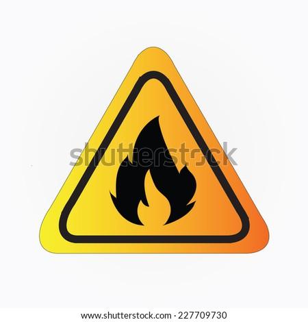 Fire warning sign on gray,fire warning vector - stock vector