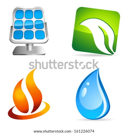 fire, water, energy and environment icons - stock vector