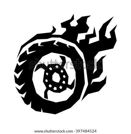 Fire wheel hot burn black and race vehicle fire wheel. Fire wheel auto car concept. Fire wheel fast sport automobile transport. Fire wheel silhouette. Car and motorcycle fire wheel with flame vector.  - stock vector