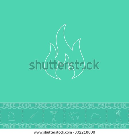 Fire. White outline flat symbol and bonus icon. Simple vector illustration pictogram on green background - stock vector