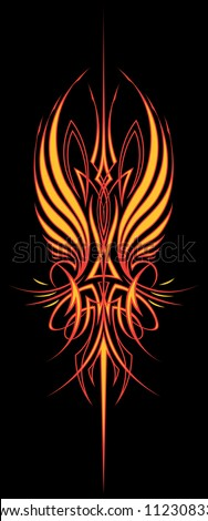 Fire Wing Pinstripe: Vertical Version Two color vector illustration of a pinstripe design element created for the hood of a hot rod or motorcycle tank. - stock vector