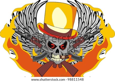 fire wing skull - stock vector