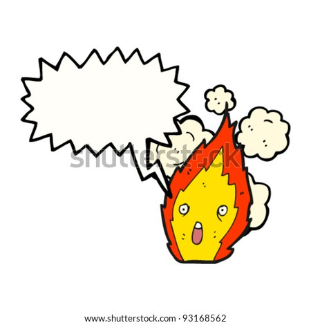 fire with speech bubble cartoon