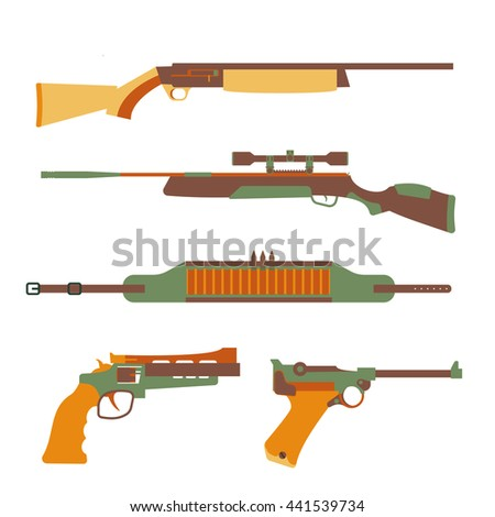Firearms set design flat. Military weapon and gun, pistol for defense, vector illustration - stock vector