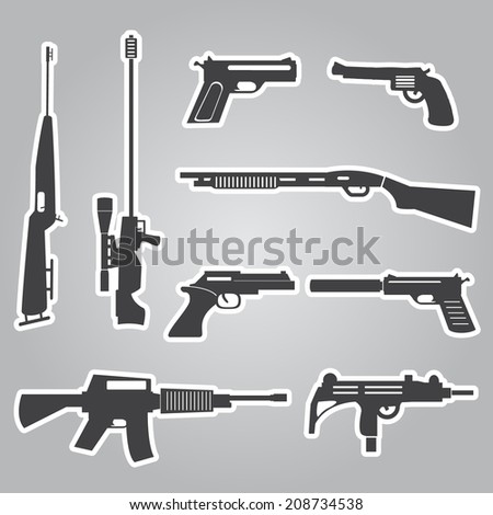 firearms weapons and guns black stickers eps10 - stock vector