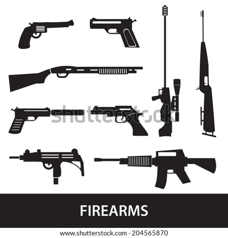 firearms weapons and guns icons eps10 - stock vector