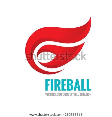 Fireball - vector logo concept illustration. Fire logo sign. Flame logo sign. Vector logo template. Design element.  - stock vector
