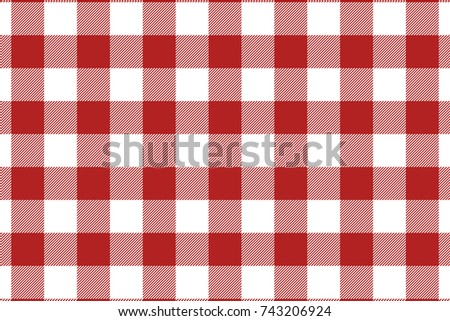 Firebrick Gingham pattern. Texture from rhombus/squares for - plaid, tablecloths, clothes, shirts, dresses, paper, bedding, blankets, quilts and other textile products. Vector illustration.