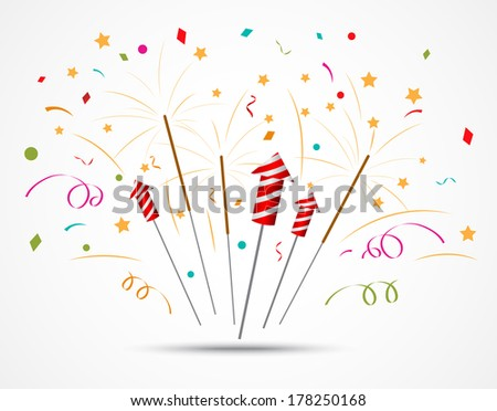Firecracker with fireworks popping on white background  - stock vector