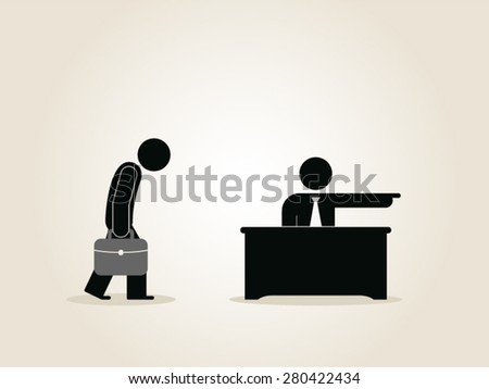 fired from job, getting fired, you are fired, human resources, unemployment, recruitment vector - stock vector