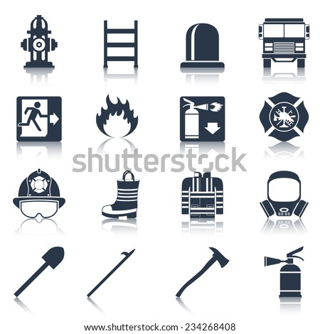 Firefighter black icons set with flame extinguisher emergency siren isolated vector illustration - stock vector