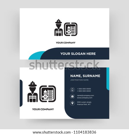 Firefighter Business Card Design Template Visiting Stock Vector