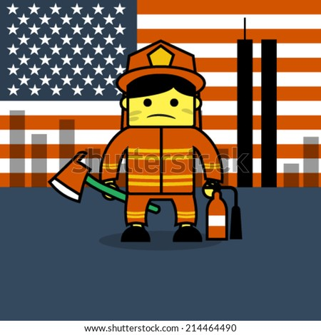 "Firefighter cartoon in ""we will never forget concept"".  - stock vector"