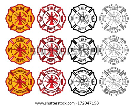 Firefighter Cross Symbol is an illustration of three slightly different firefighter or fire department Maltese Cross symbols. Each is presented in four styles of color. - stock vector