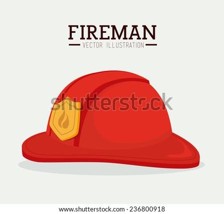 Firefighter design over white background, vector illustration. - stock vector
