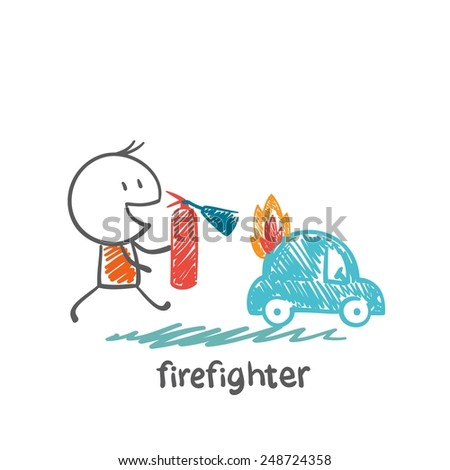 firefighter extinguish a fire extinguisher car illustration - stock vector
